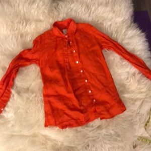 J crew size 0 orange linen button down shirt